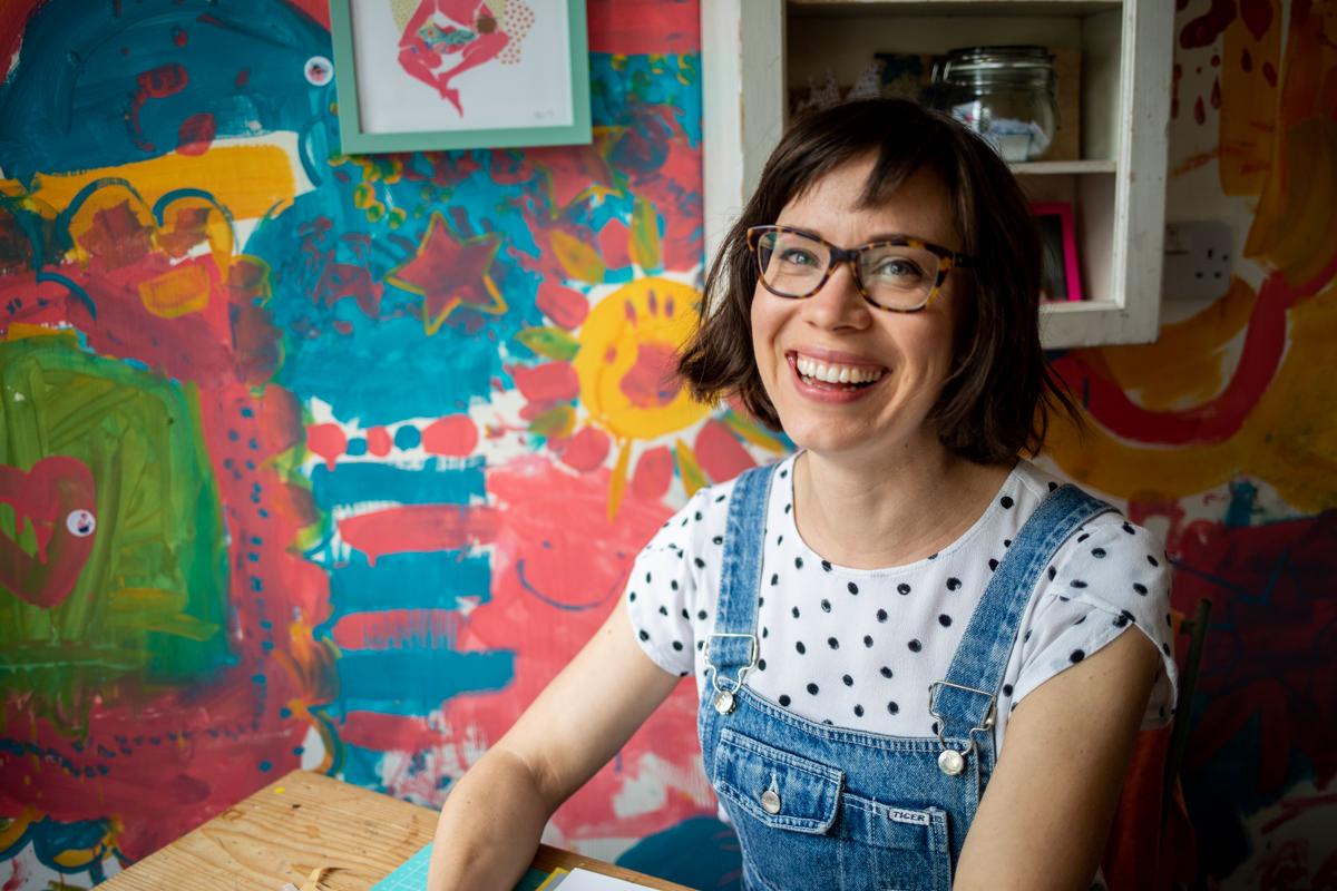 Elena Wagner at her studio in York smiling