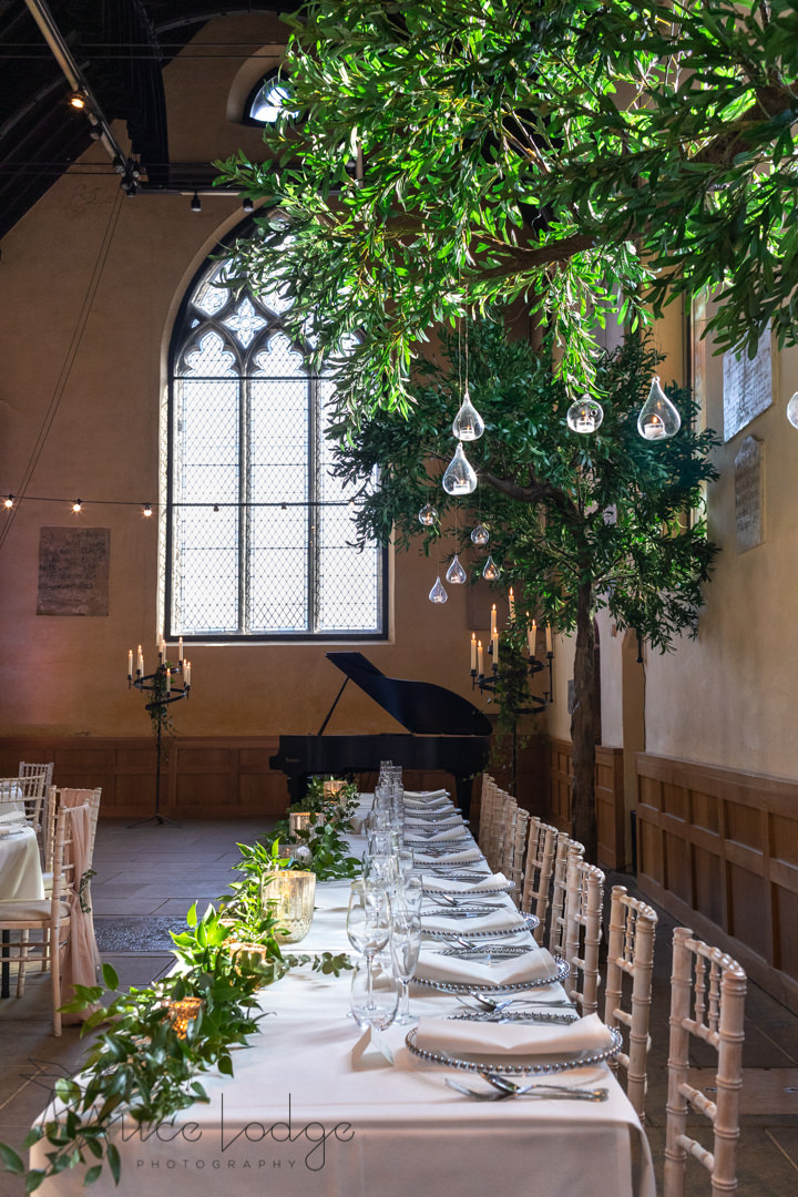 National centre for early music top table with candles and trees