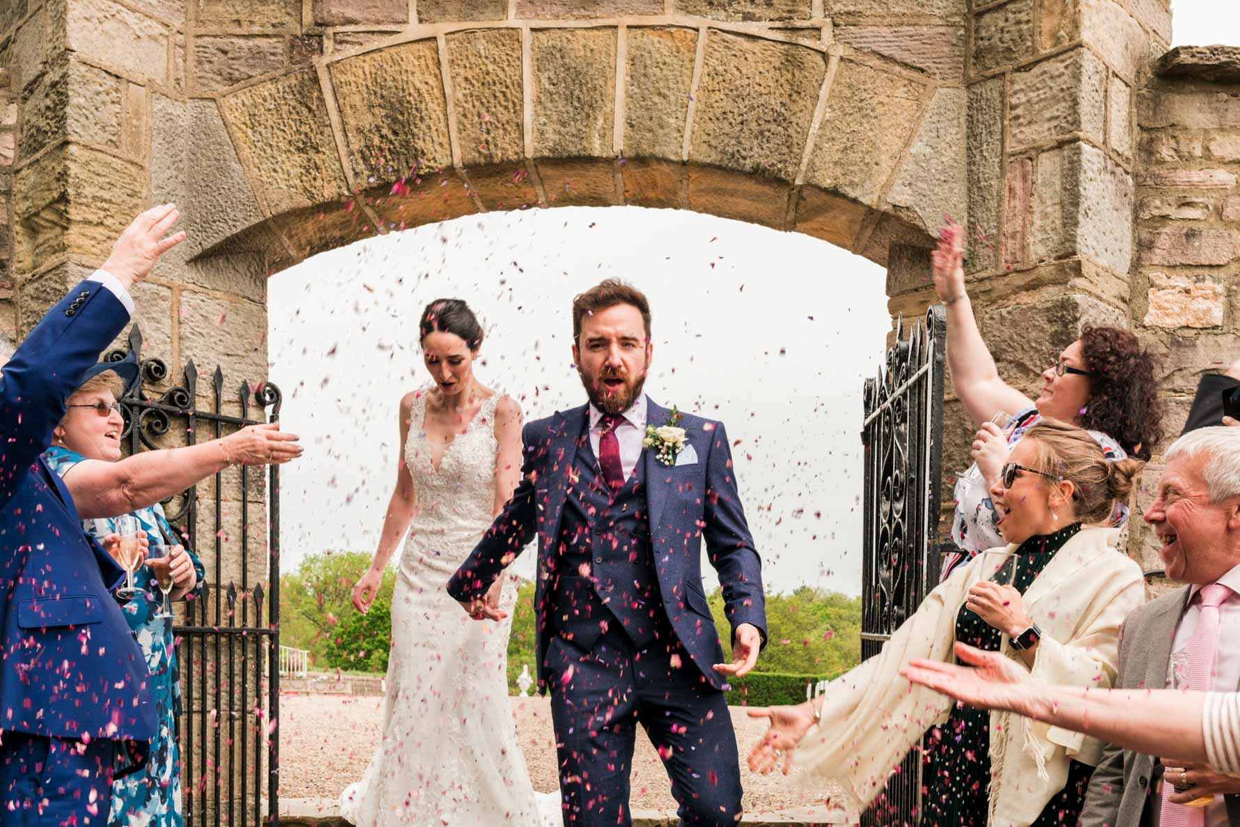wedding confetti at wood hall hotel rose garden