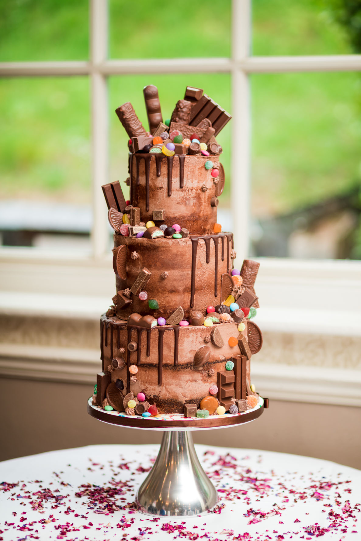 Yorkshire chocolate surprise wedding cake