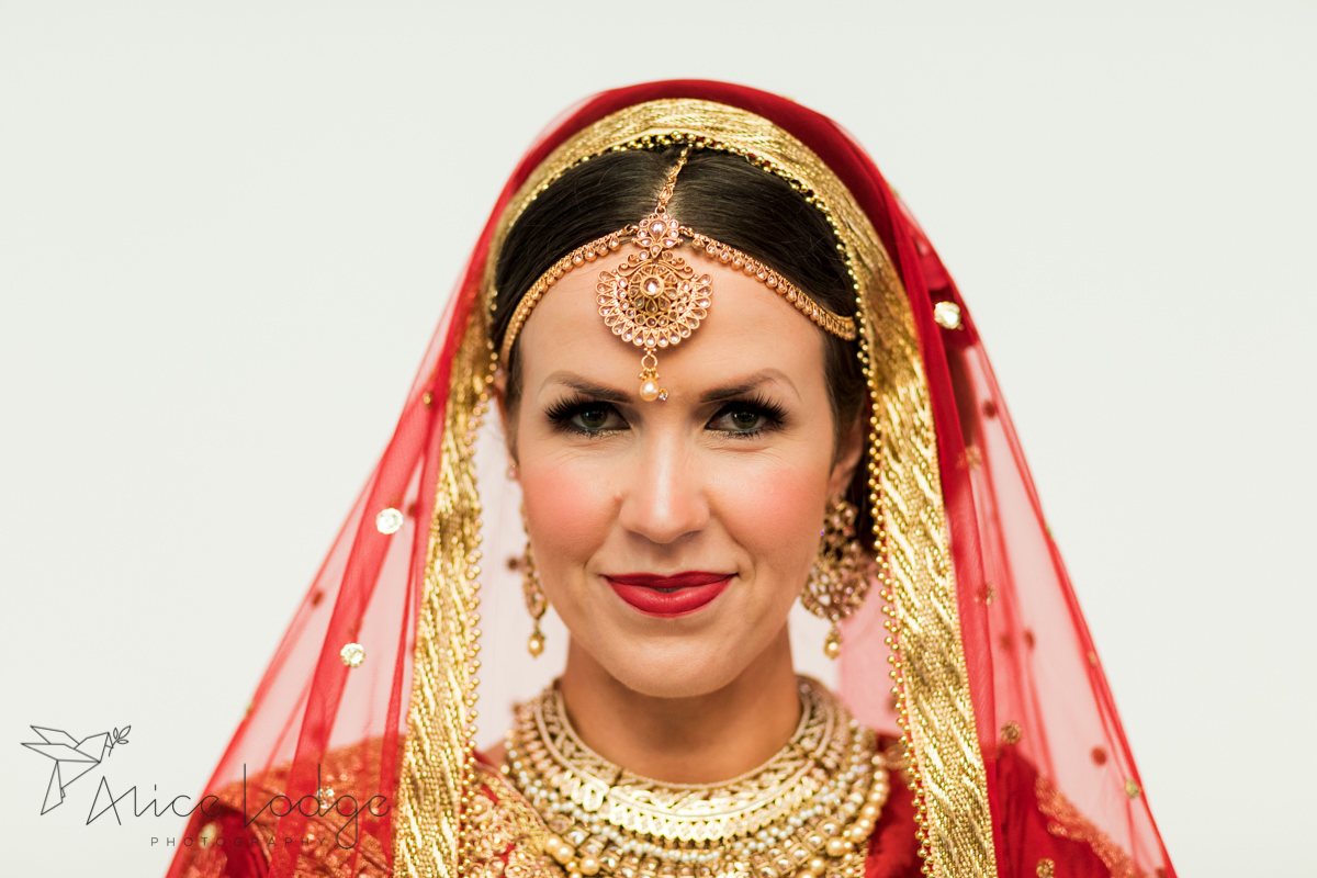 Portrait of English bride in Indian wedding dress