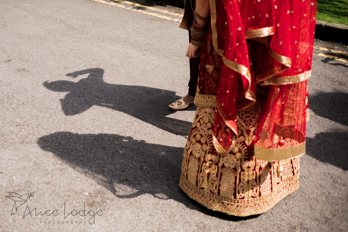 Shadows of Indian wedding couple
