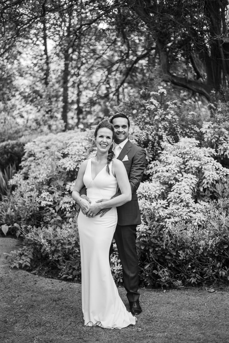 Bride and groom in gardens at old swan harrogate
