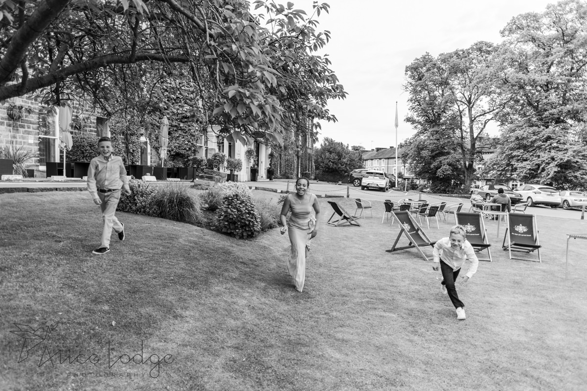 Children playing in garden of old swan hotel harrogate