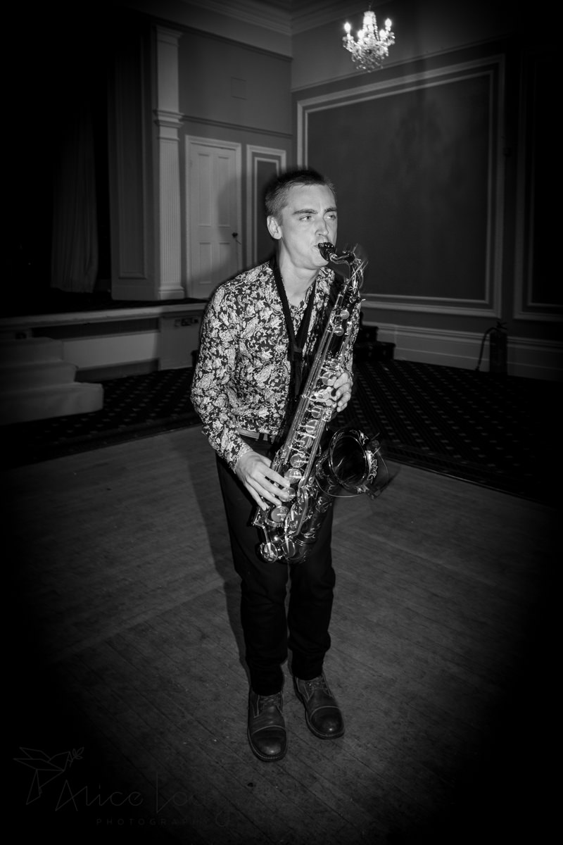 Sax player at wedding party