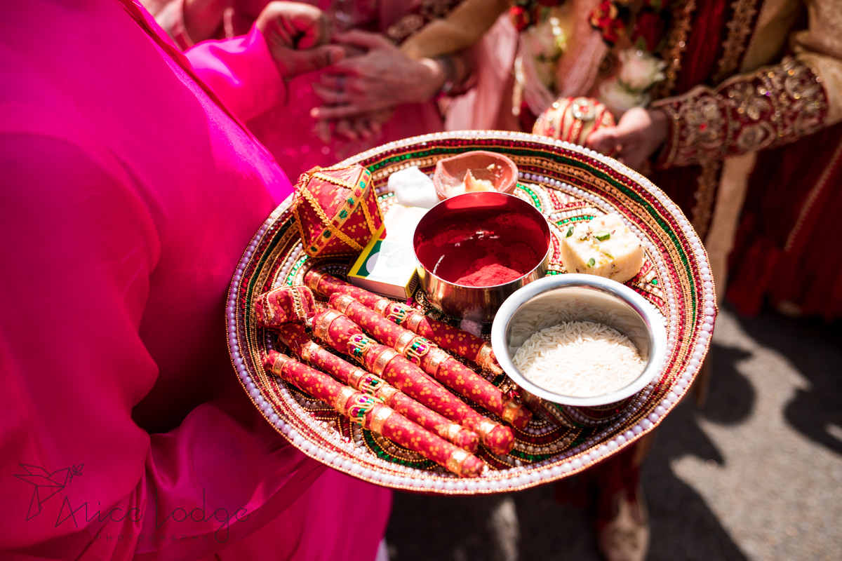 Tray with items for Indian wedding ceremony