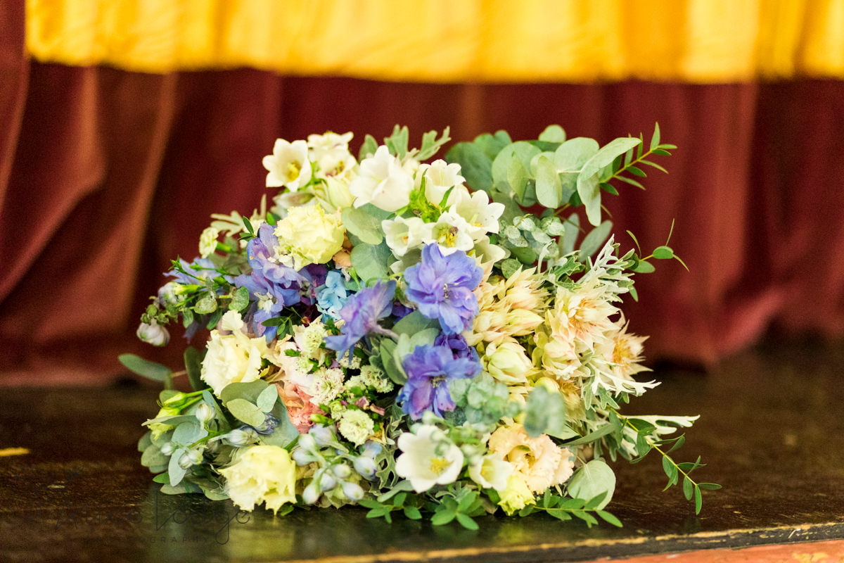 wedding bouquet with blue and white flowers