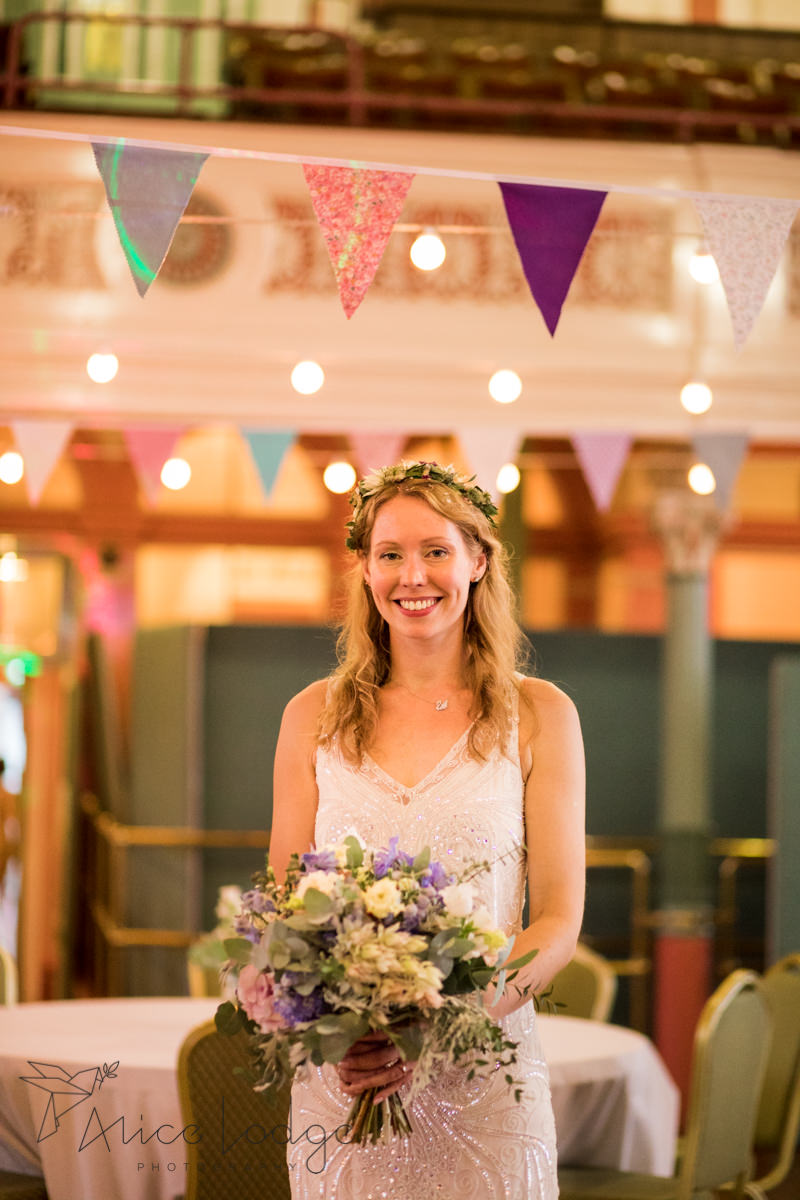 bride at Victoria Hall with bouquet