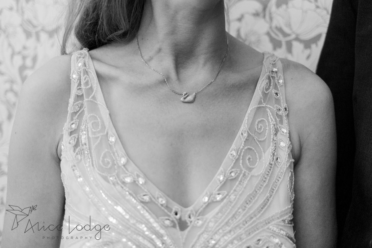 bride with Swarovski swan necklace