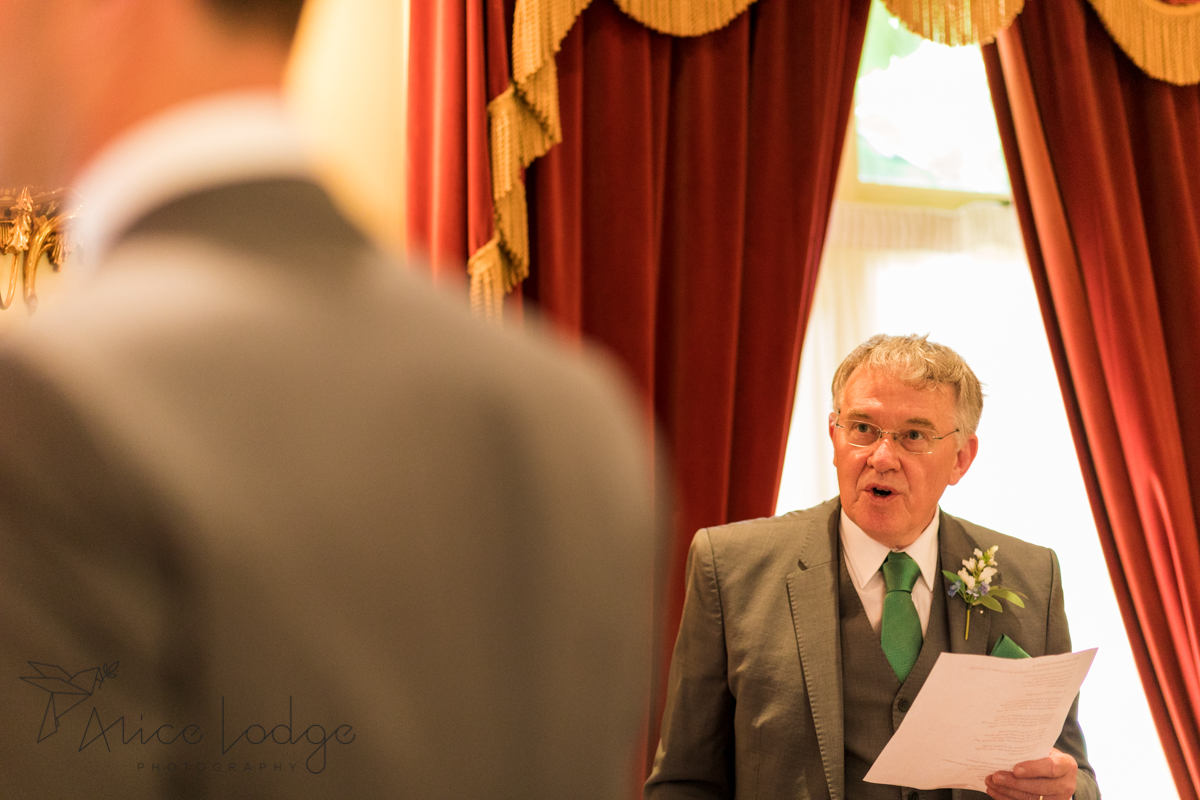 father of the groom reading