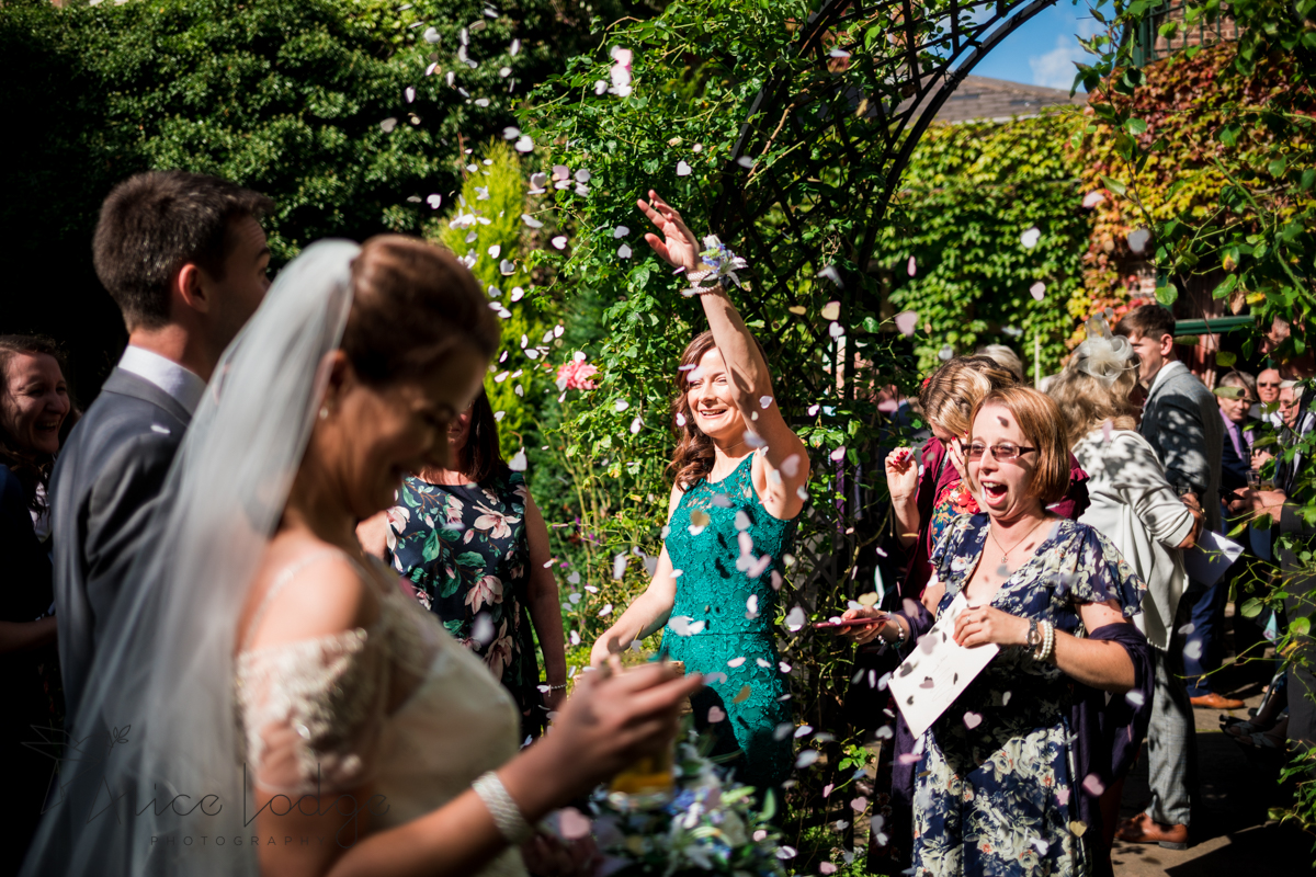 wedding confetti in sunshine