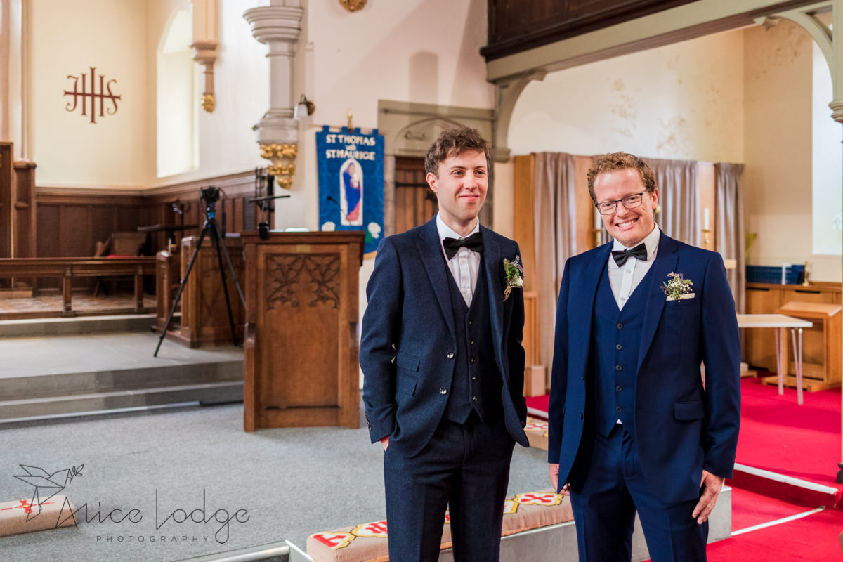 groom waiting for bride in york church