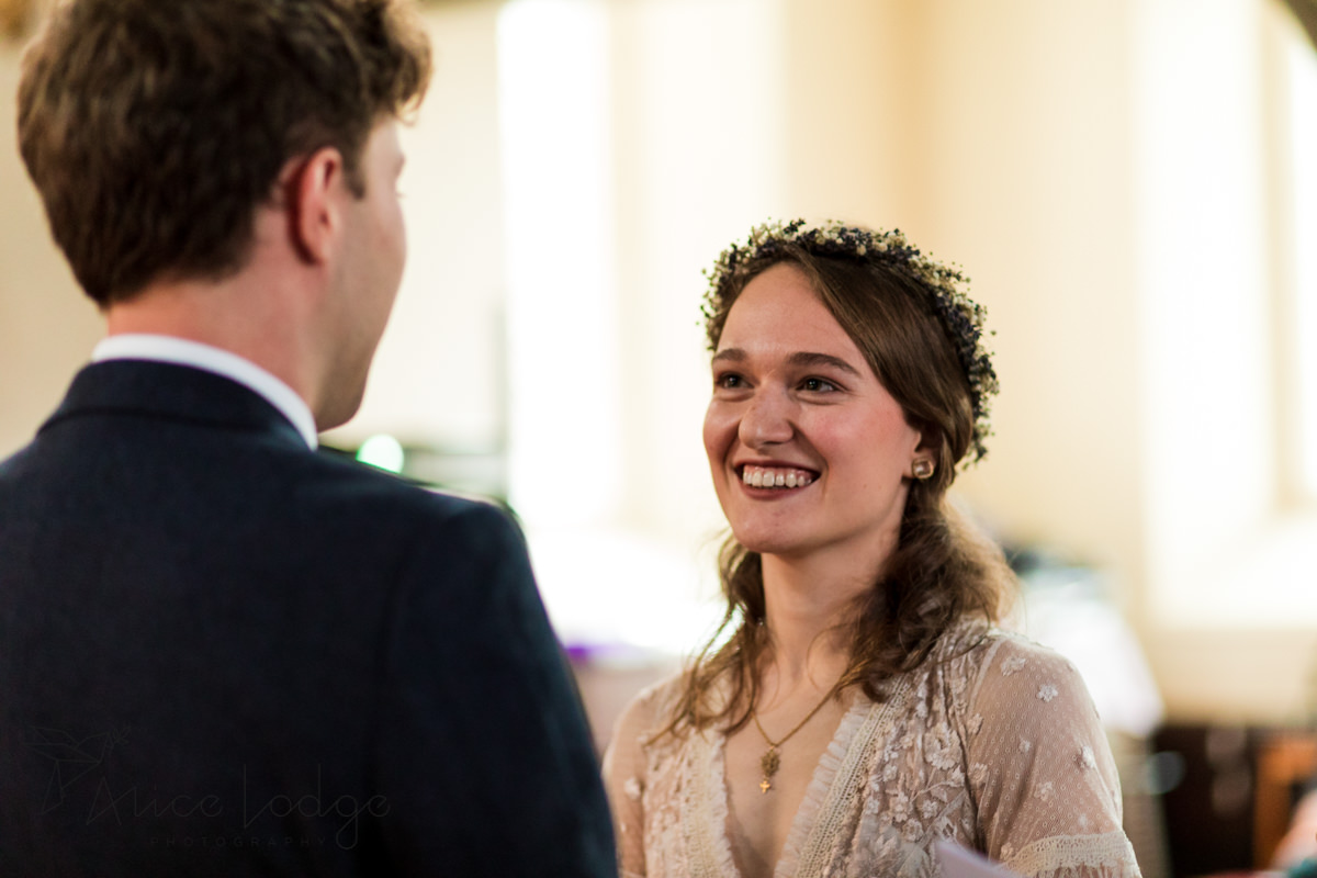bride and groom in st. Thomas's church