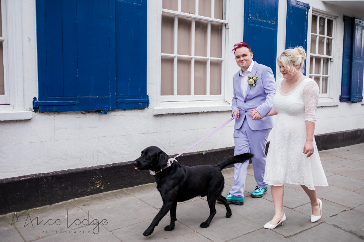 wedding couple walking with black dog