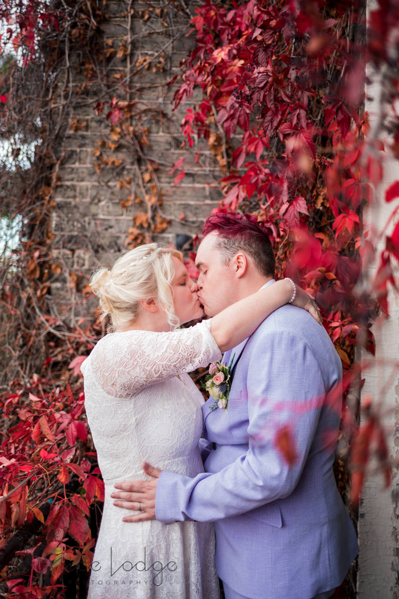 wedding couple in front of autumnal ivy