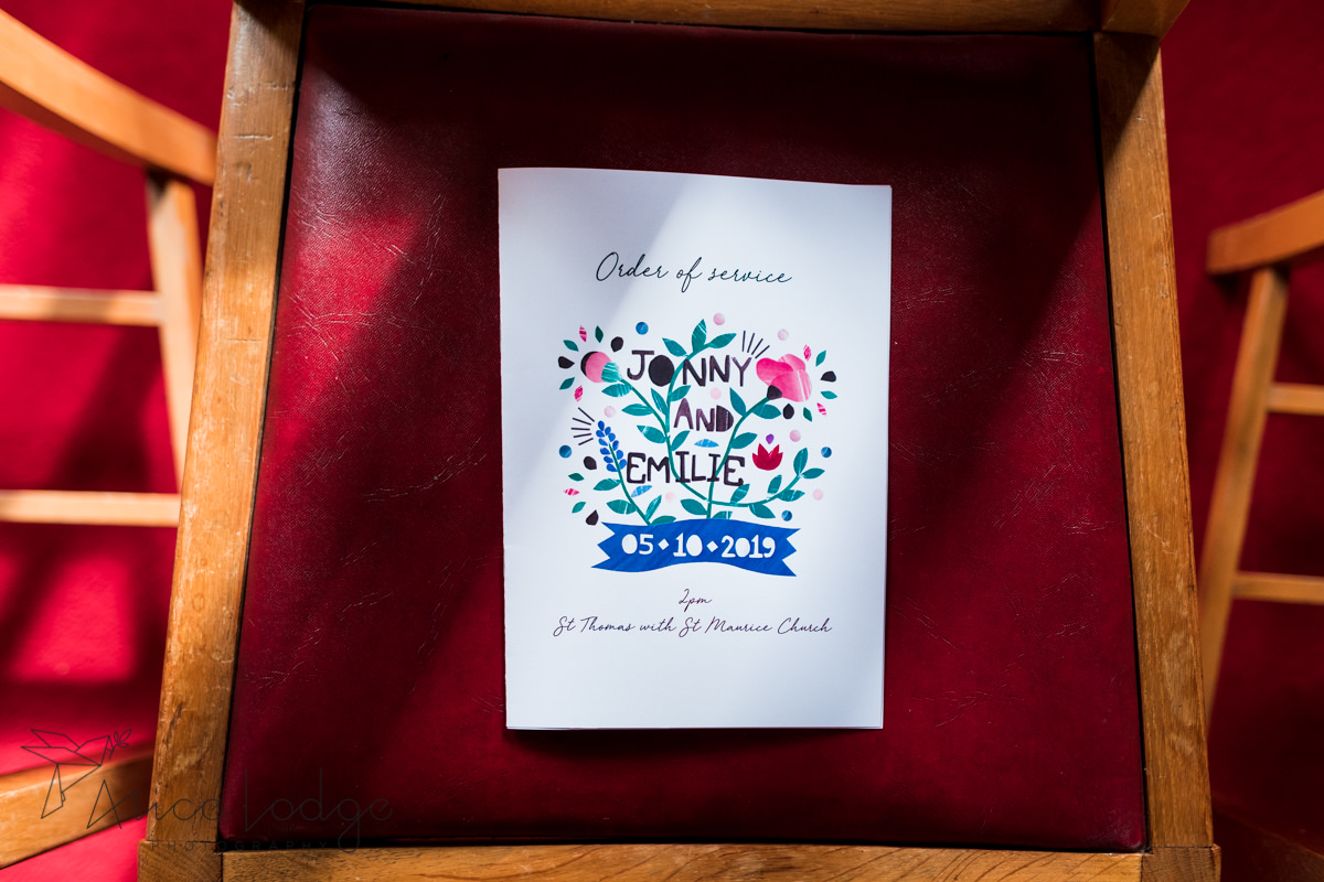 Wedding programme with flowers