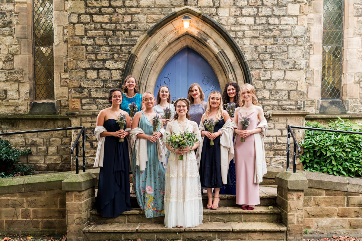 group photo of brides with bridesmaids