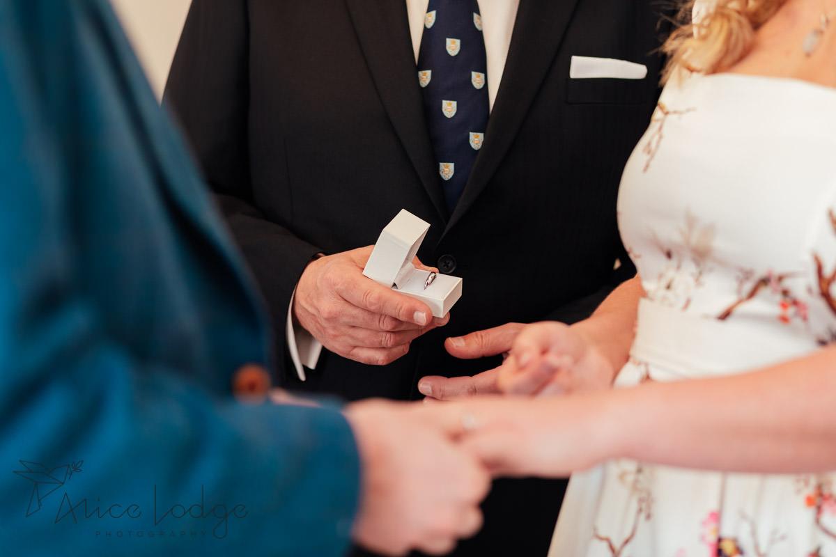 wedding ring in white box
