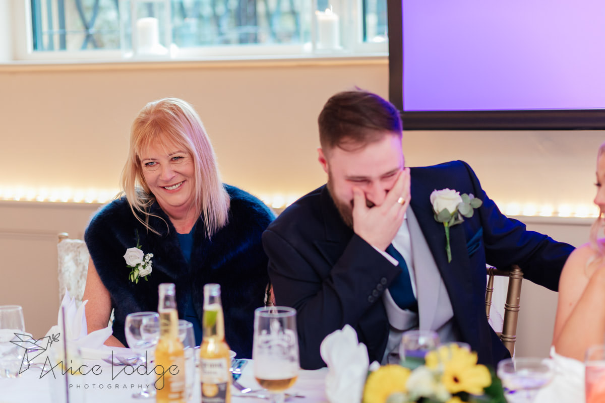 guests during wedding speeches at Whitley Hall Hotel