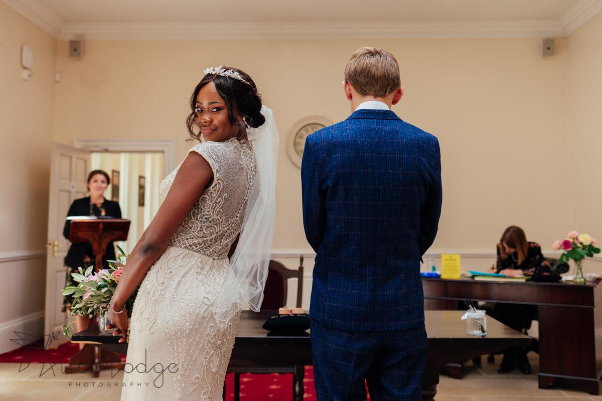 bride in registry office