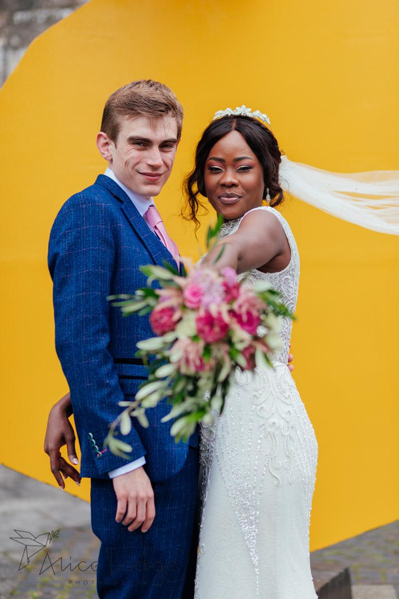 york art gallery gardens with wedding couple