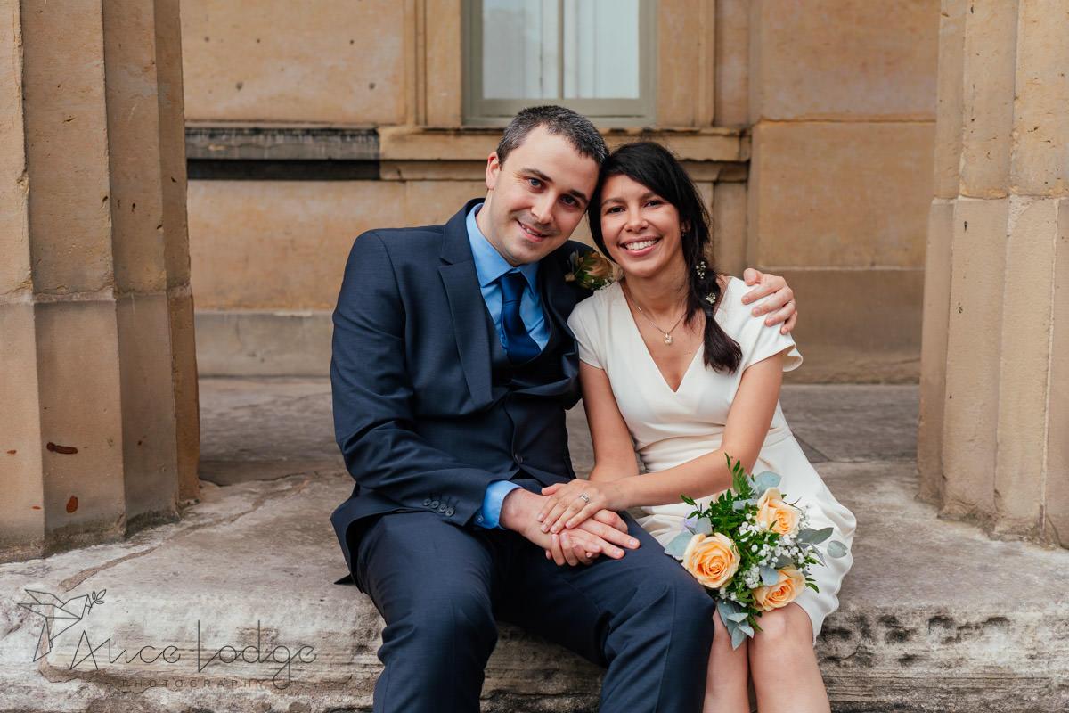 wedding couple in York museum gardens