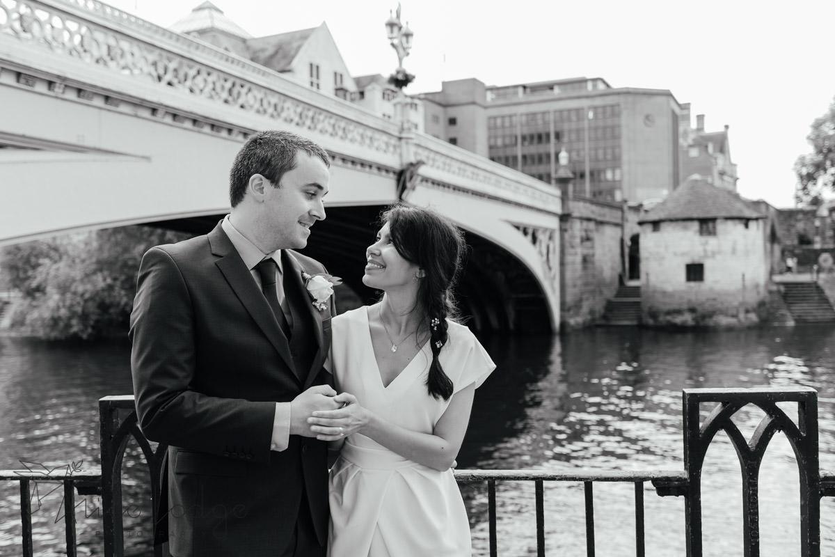 York wedding couple at river